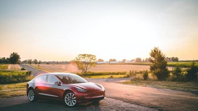 Model 3 Tesla in the sunshine